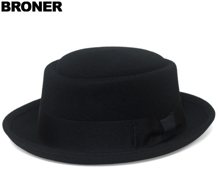 帽子 ポークパイ ハット フェルト Bronerブローナー THE PORKPIE ブラック 秋冬 メンズ レディース