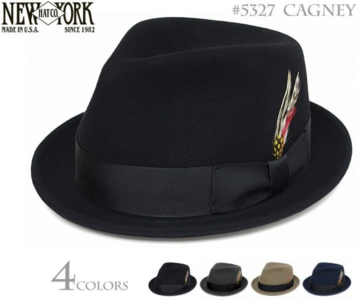 【送料無料】ニューヨークハット (NEWYORKHAT) [中折れハット] フェルトハット #5327 CAGNEY(キャグニ―) 全4カラー<ブラック グレー アーモンド ネイビー> [中折れ 帽子 NEW YORK HAT 大きいサイズ 小ツバ メンズ レディース]