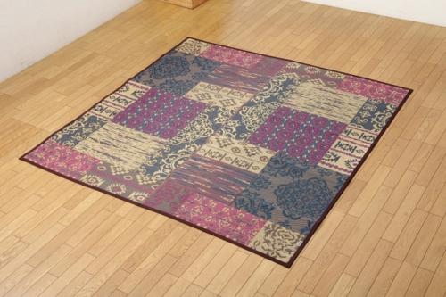 い草ラグカーペット 2畳 オリエンタル柄 オーディーン ブラウン 約191×191cm - イケヒココーポレーション