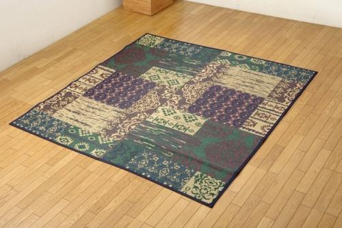 い草ラグカーペット 2畳 オリエンタル柄 オーディーン グリーン 約191×191cm - イケヒココーポレーション