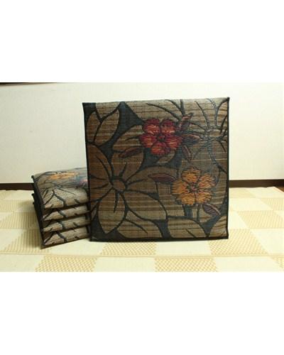 純国産 袋織 織込千鳥 い草座布団 なでしこ 5枚組 ブラック 約60×60cm×5P - イケヒココーポレーション [いぐさ][井草]
