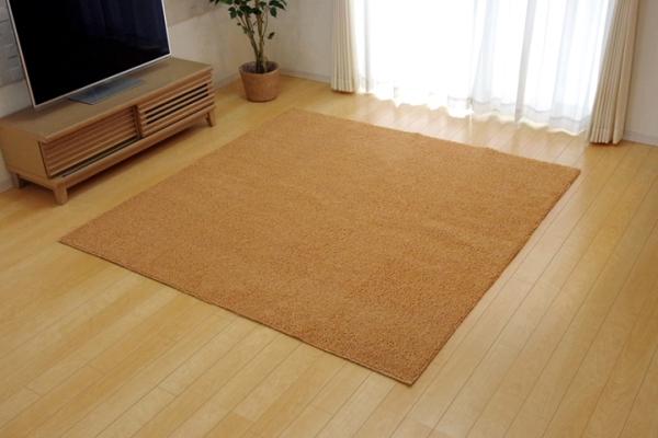 ラグガーペット 3畳 洗える タフト風 ノベル オレンジ 約200×250cm - イケヒココーポレーション [ホットカーペット対応]