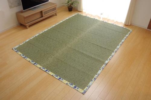 い草ラグカーペット 2畳 かわいい 花柄 NSフレグランス ブルー 約191×191cm 裏面:滑りにくい加工 - イケヒココーポレーション