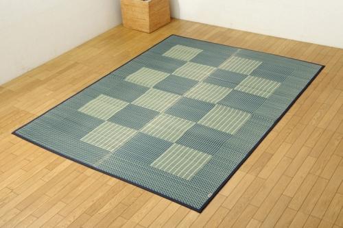 い草ラグカーペット 3畳 格子柄 シンプル モダン Fライト ブルー 約191×250cm 裏ウレタン - イケヒココーポレーション