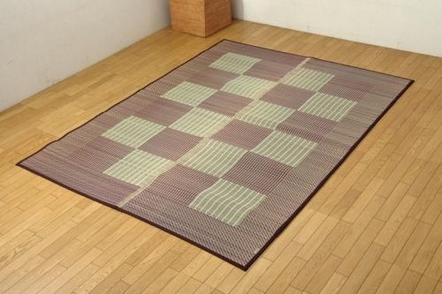 い草ラグカーペット 3畳 格子柄 シンプル モダン Fライト ブラウン 約191×250cm 裏ウレタン - イケヒココーポレーション