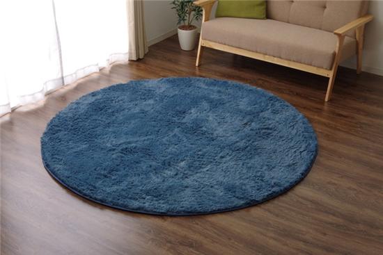 イケヒココーポレーション ラグ カーペット 円形 マイクロファイバー ミスティ―IT ブルー 約185cm丸 ホットカーペット対応 - イケヒココーポレーション