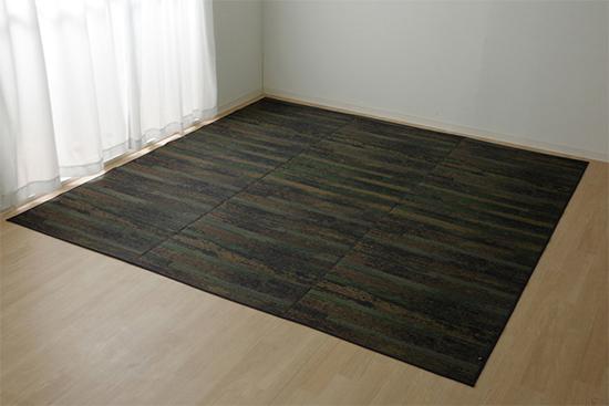 純国産 い草花ござカーペット カイン ブルー 江戸間8畳 約348×352cm - イケヒココーポレーション ※メーカー直送品