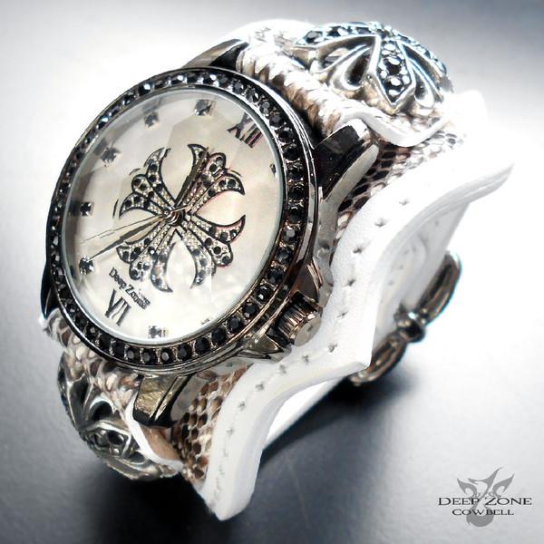 ディープゾーン 腕時計 [ Deep Zone cwlbw-018 ] 腕時計 メンズ ヘビ革 ベルト ジルコニアクロス カジュアルウォッチ パイソン クロスコンチョ国産製 彼氏 ギフト でぃーぷぞーん 送料無料 SOULJAPAN 悪羅悪羅 お兄系 ちょい悪オヤジ