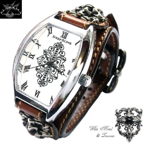 [Deep Zone]dzbw-020 ディープゾーン 腕時計 メンズ 革 レザーベルト トノーフェイス クロスコンチョ カジュアルウォッチ プレゼント 彼氏 ギフト でぃーぷぞーん 送料無料