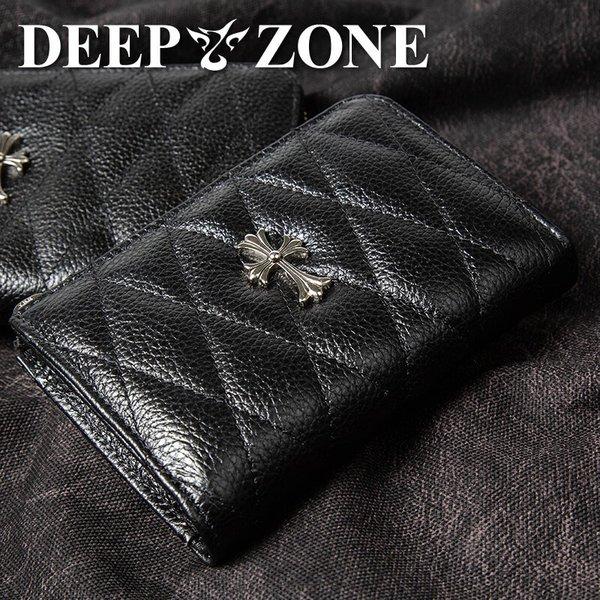 ディープゾーン 二つ折り財布[ Deep Zone wa038] メンズ a038 革 本革 キルティングレザー クロスモチーフ プレゼント 彼氏 ギフト でぃーぷぞーん 送料無料