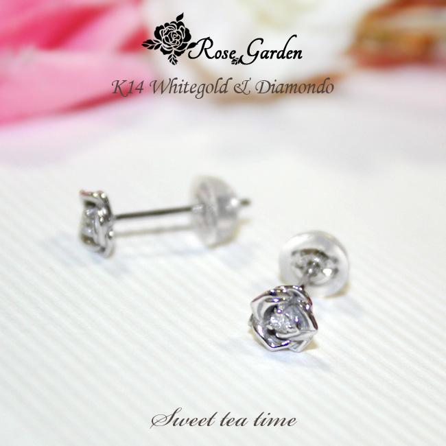 ピアス K14WG ホワイトゴールド ダイヤモンド 0.01ct ローズ ガーデン RoseGarden 薔薇 ファッション ジュエリー レディース ピアス MA511012【送料無料】【P20】【SS2】【ギフト】
