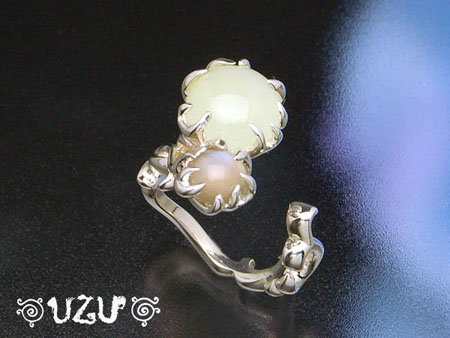 ウズ UZU 指輪 レディース RI-1228 ジュエリー アクセサリー シルバー ニュージェイド グレームーンストーンリング 1/8【P02】【ni】【ギフト】
