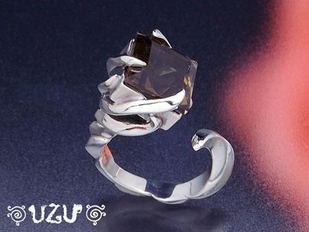 ウズ UZU 指輪 レディース RI-1289 ジュエリー アクセサリー シルバー スモーキークォーツ イブシ リング【ni】【ギフト】