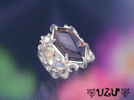 ウズ UZU 指輪 レディース RI-1315 ジュエリー アクセサリー シルバー スモーキークォーツ ラブラドライト リング【ni】【ギフト】