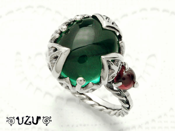 ウズ UZU 指輪 レディース RI-1482 GQ RGA ジュエリー アクセサリー シルバーリング グリーンクォーツ ロードライトガーネット【ni】【ギフト】