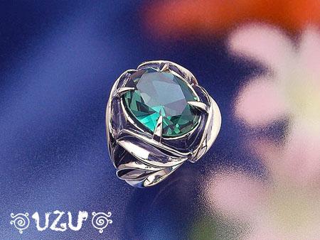 ウズ UZU 指輪 レディース RI-3048 ジュエリー アクセサリー シルバー グリーンカラーCZ リング【ni】【ギフト】