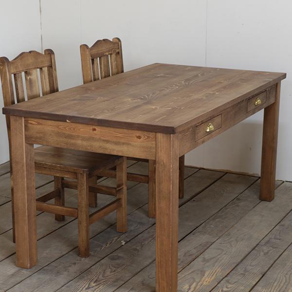 【35%OFF】ダイニングテーブル・引出し付き w150cm パイン材  テーブル 木製 北欧 ナチュラル シンプル 無垢材 食卓 オーダーメイド