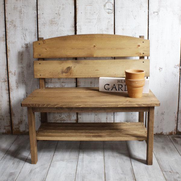 ベンチ 木製 チェア 椅子 玄関 ガーデンベンチ おしゃれ 棚板付き パイン材 全2色