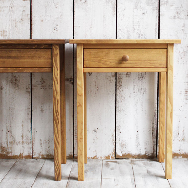 ミニテーブル おしゃれ サイドテーブル 北欧 木製 木製 引き出し ミニ 収納 高さ68cm パイン材[雑誌掲載商品]