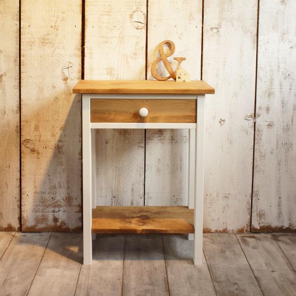 ミニテーブル 木製 棚板付き パイン材 全4色
