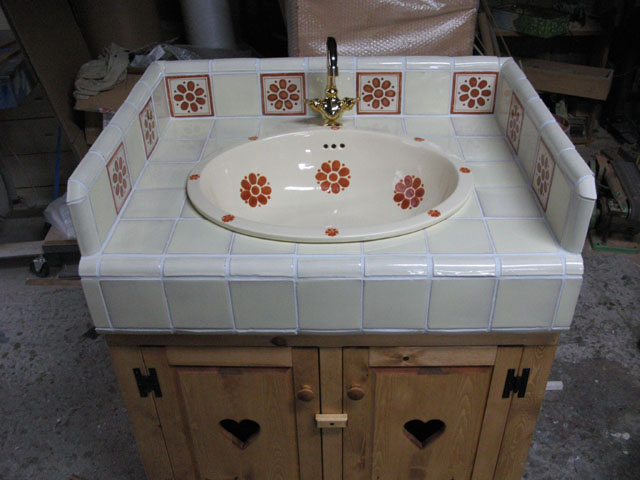 オーダー洗面台・メキシカンタイル 木製 パイン材 washstand01北欧雑貨