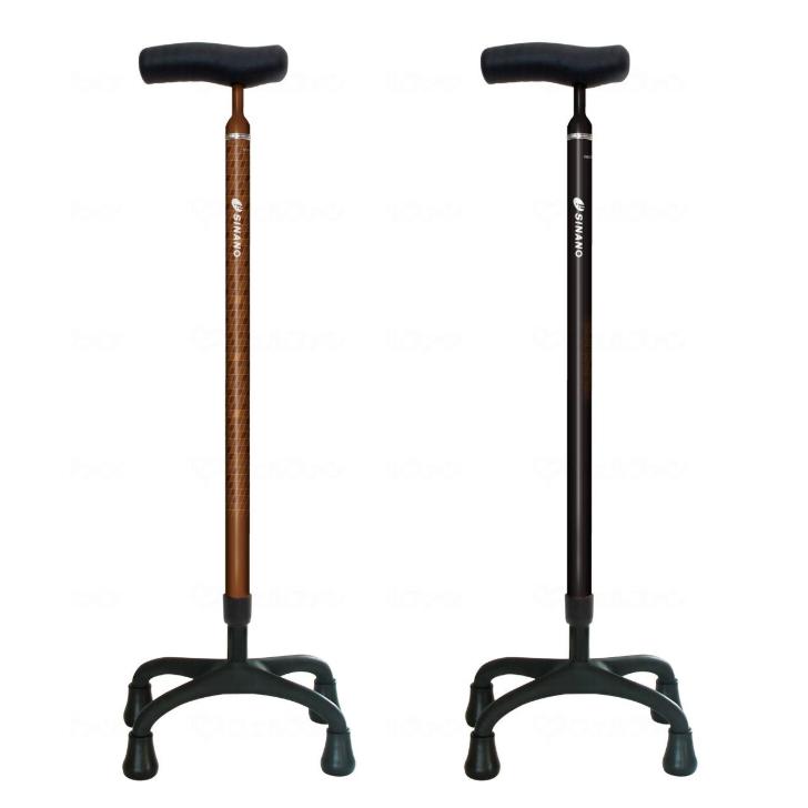 【杖 おしゃれ ステッキ 軽量 自立 4点杖 多点杖】ソフトグリップカーボン4点杖+