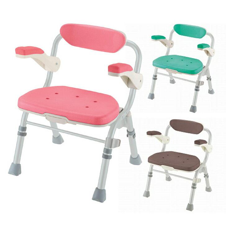 【介護 椅子 風呂 シャワー チェアー】折りたたみシャワーチェア J型 肘掛け付