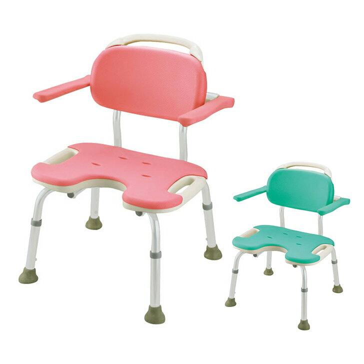 【介護 椅子 風呂 シャワー チェアー シャワーベンチ 浴槽台】リッチェル やわらかシャワーチェア U型肘掛付ワイド