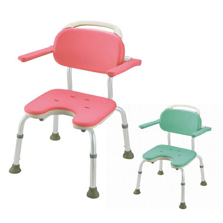 【介護 椅子 風呂 シャワー チェアー シャワーベンチ 浴槽台】リッチェル やわらかシャワーチェア U型肘掛付コンパクト