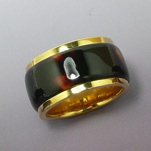 匠の本べっ甲 SILVERコンビーネーションリング ラージタイプ K18ゴールドカラーコーティング仕様 指輪 べっ甲 べっ甲リング べっ甲指輪 ハンドメイド