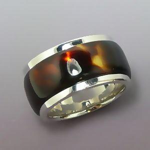 匠の本べっ甲 SILVERコンビーネーションリング ラージタイプ シルバーカラー(ロジウム)コーティング仕様 指輪 べっ甲 べっ甲リング べっ甲指輪 ハンドメイド