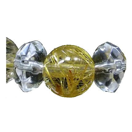 最高級 ゴールドルチル&水晶 ブレスレット 6mm Type4