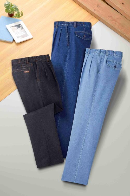 CL脇シャーリング ストレッチデニムパンツ同サイズ3色組 ジーンズ デニム パンツ メンズ 紳士 メンズ用 紳士用 3枚セット 父の日 敬老の日 グッズ