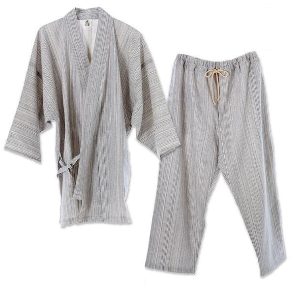 【直送品】【代引き不可】優柔 纏(まとい)いろは織 七分袖・九分丈 作務衣