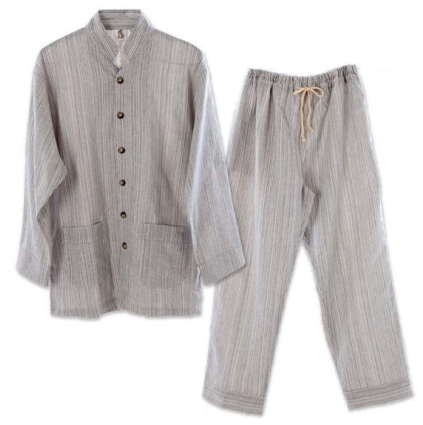 【直送品】【代引き不可】優柔 纏(まとい)いろは織 長袖・十分丈パジャマ