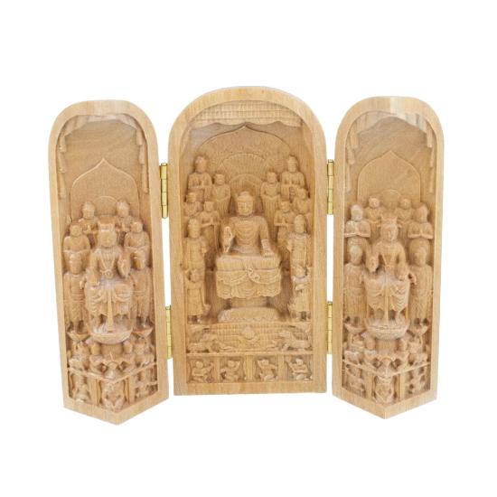【代引き不可】白檀彫刻の至宝 諸尊仏龕