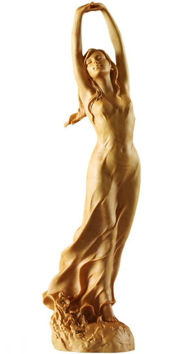 【代引き不可】本黄楊一杢彫 魅せられて 置物 美術品 工芸品 ほんつげ 天然木 一杢彫り 彫刻 手作り彫刻 葉偉混 工芸 オブジェ 木彫り工芸 美人像 アート 用品 グッズ アイテム