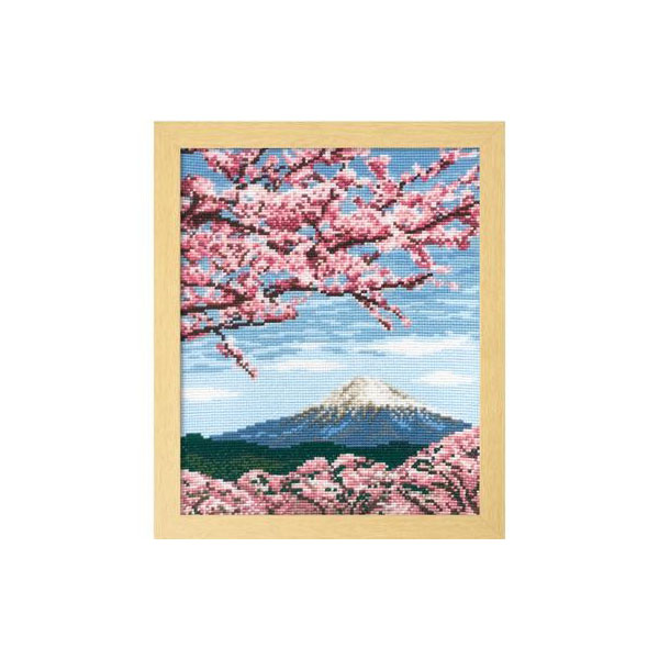 【直送品】【代引き不可】7386 オリムパス ししゅうキット フレーム 桜と富士山ご注文後2~3営業日後の出荷となります