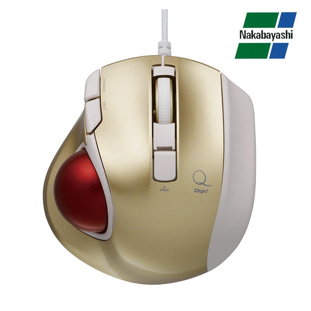 【直送品】【代引き不可】ナカバヤシ Digio2 極小トラックボール「Q」 小型 有線 静音 5ボタントラックボール ゴールド MUS-TULF133GLご注文後3~4営業日後の出荷となります