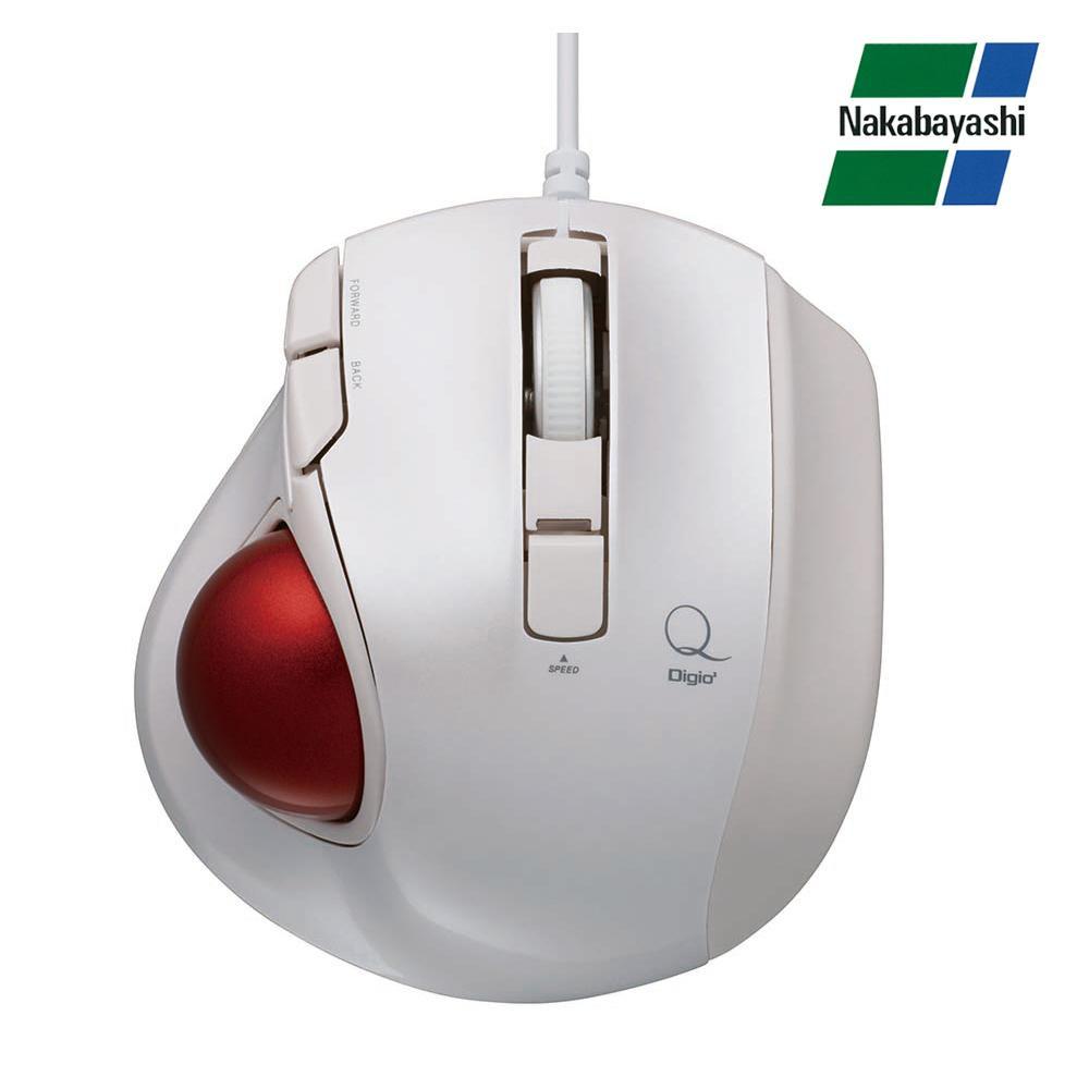 【直送品】【代引き不可】ナカバヤシ Digio2 極小トラックボール「Q」 小型 有線 静音 5ボタントラックボール ホワイト MUS-TULF133Wご注文後3~4営業日後の出荷となります