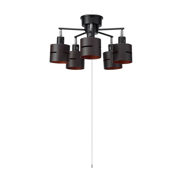 【直送品】【代引き不可】YAZAWA(ヤザワコーポレーション) 5灯ウッドセードシーリング ダークウッド E26 電球なし CEX60X02DWご注文後2~3営業日後の出荷となります