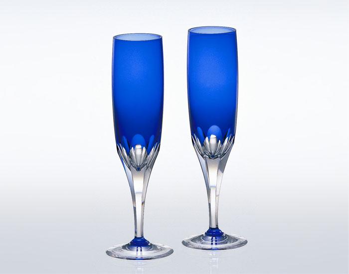 【ポイントアップ】【取り寄せ】カガミクリスタル ロイヤルブルー ペアフルートシャンパングラス (KPS816-72-CCB)【敬老の日】【内祝い】【お返し】【お祝い】【ギフト】【ご挨拶】【法事】【結婚】
