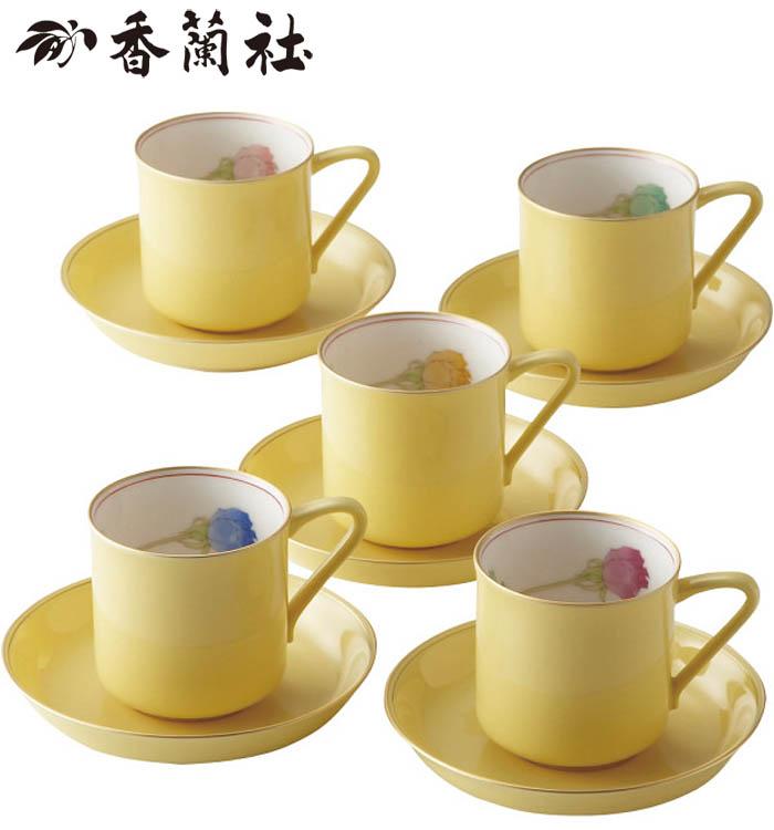 【当日発送】香蘭社 ブライトローズ 珈琲碗皿5客揃 (Y1195-HCG)【内祝い】【お返し】【お祝い】【ギフト】【ご挨拶】【法事】【結婚】【ラッキーシール対応】