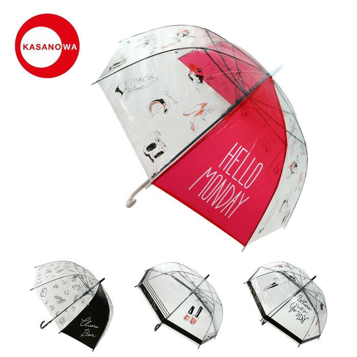 KASANOWA かわいいデザイン傘 SALE デザイナー 傘 レディース 64 開催中 傘の輪 デザインビニール傘 ヨシダエリ cm