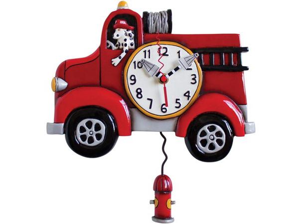 Allen Designs アレン・デザイン 消防車の振り子時計 Big Red Firetruck ClockMichelle Allenデザイン おすすめです♪