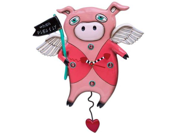 Allen Designs アレン・デザイン 子豚が飛んでる振り子時計 Pigs Fly ClockMichelle Allenデザイン