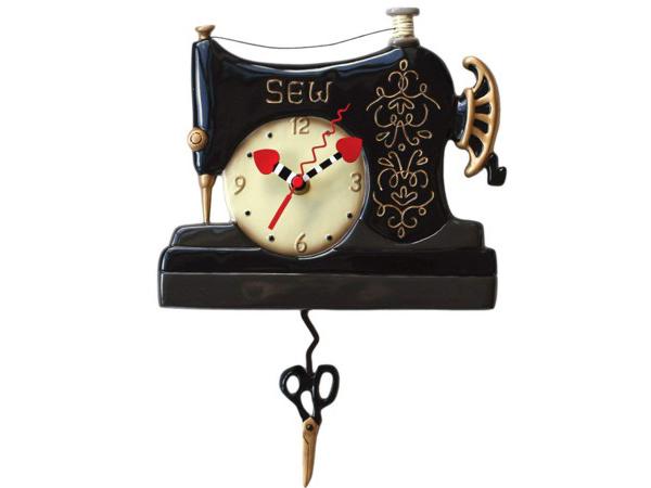 Allen Designs アレン・デザイン 黒いビンテージ・ミシンの振り子時計 Stitch Sewing MachineMichelle Allenデザイン おすすめです♪