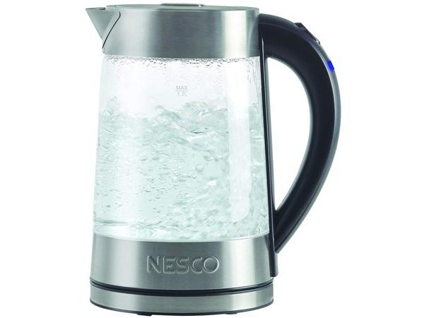 【2年保証・変換プラグ付】 Nesco ネスコ ガラス・ウォーターケトル GWK-02水が沸騰する様子が見える電子ポットです♪