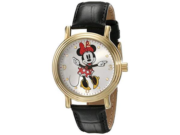Disney ディズニー ミニー・マウス 女性用腕時計 (ブラック/ゴールド) レザー・バンド