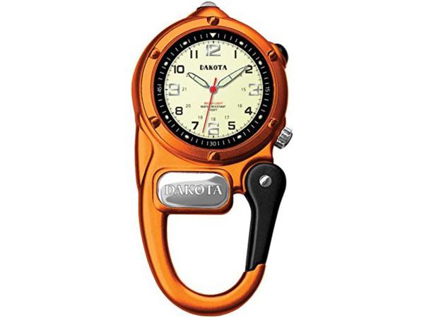 Dakota ダコタ カラビナウォッチ ミニ・クリップ・マイクロライト時計 (オレンジ) 3気圧防水・LEDライト